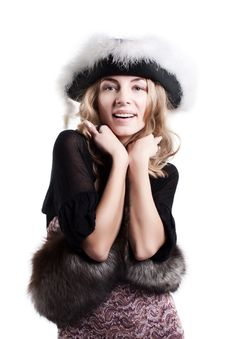 Young Woman Wrapped In Fur Royalty Free Stock Image