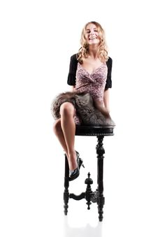 Woman In A Luxurious Dressed Royalty Free Stock Photos