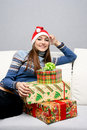 Free Pretty Smiling Caucasian Girl In Santa Hat Stock Images - 17241154