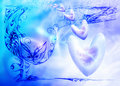 Free Soft  Blue Celestial Background With Hearts Royalty Free Stock Photo - 17249305