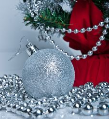 Free Christmas Tree And Silver Decor Stock Image - 17240991