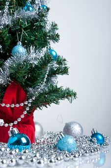 Christmas Tree And Blue And Silver  Decor Royalty Free Stock Photo