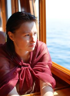 Free Woman Near Window On The Ship Stock Image - 17241171