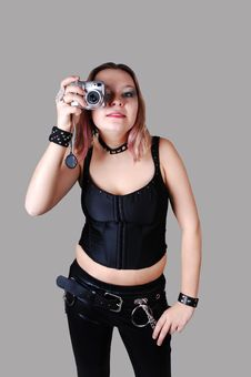Girl With Camera. Stock Photo