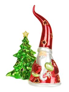 Free Glass Santa Candelstick With Christmas Tree. Stock Image - 17242421