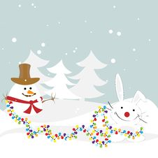 Free Bunny With A Snowman Decorated With Garlands Of Fo Royalty Free Stock Photography - 17243047