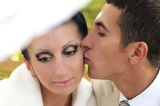 Free Groom Kissing Bride Royalty Free Stock Image - 17243246