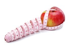 Free Red Apple And Tape Measure Stock Images - 17243894