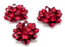 Free Three Red Christmas Bows Stock Photo - 17244150