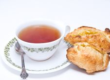 Free Tea And Pies Of Puff Pastry. Royalty Free Stock Photos - 17244388