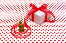 Free Christmas Gift, With Red Tape Royalty Free Stock Photography - 17244647