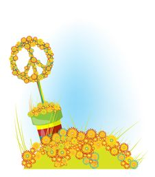 Free Sign Of Peace. Glade And Flowers A Royalty Free Stock Photography - 17245197