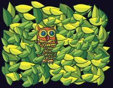 Free Owl In Tree Cartoon Royalty Free Stock Photography - 17245247