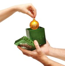 Free Female Hand Taking Christmas Ball Out Of Box Royalty Free Stock Images - 17246129