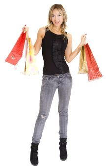 Free Sexy Blond Woman With Shopping Bags Royalty Free Stock Photos - 17246318