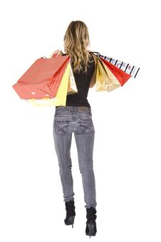 Free Sexy Blond Woman With Shopping Bags Stock Photo - 17246340
