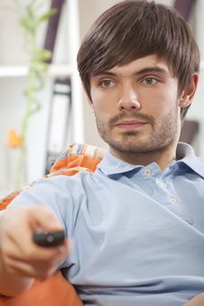 Man With Remote Control Stock Photography