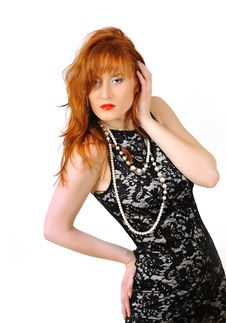 Beautiful Red Haired Woman In Lace Black Dress Royalty Free Stock Photography