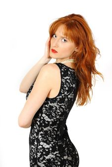 Beautiful Red Haired Woman In Lace Black Dress Royalty Free Stock Photos