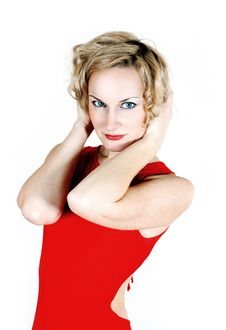 Free Beauty Blond In Red Dress Royalty Free Stock Image - 17247896