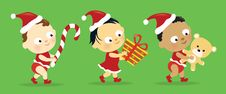 Free Christmas Babies W/ Presents Stock Photography - 17248092