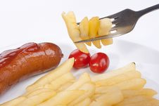 Free Fried Potato On A Fork Royalty Free Stock Image - 17248806