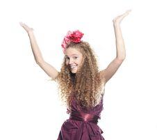 Free Happy Girl Over White Stock Image - 17248811