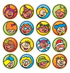 Round Buttons With Faces Of Children Stock Image