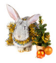 Free Gray Rabbit And Christmas Decorations Royalty Free Stock Photos - 17254678