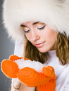 Free Beautiful Winter Girl In Orange Mitt Stock Photography - 17255962
