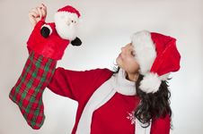Free Young Female And Santa Claus Royalty Free Stock Photos - 17250448
