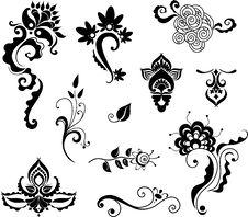 Free Decorative Floral Elements For Design Royalty Free Stock Photography - 17250507