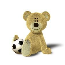 Free Nhi Bear Sitting On The Floor With A Ball, Side Royalty Free Stock Photos - 17250858