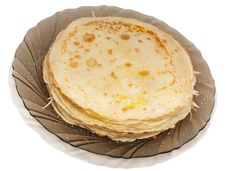 Thin Flour Traditional Russian Pancakes Royalty Free Stock Photos