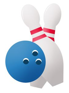 Bowling Ball And Pins Stock Image
