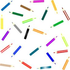 Free Set Of Colorful Pencils On White Background Royalty Free Stock Photo - 17252205