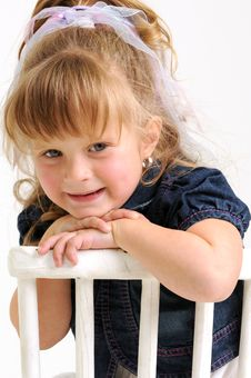 Free Pretty Girl In Blue Dress Sitting White Chair Stock Images - 17253444