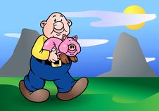 Free Bald Man And His Big Pink Pig Royalty Free Stock Images - 17253549