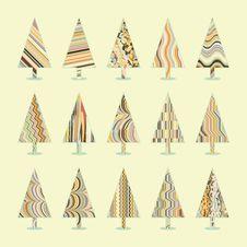 Free Set Of Retro Christmas Trees. EPS 8 Stock Photo - 17253730