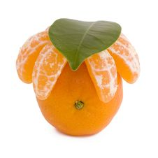 Free Tangerine With Leaf Stock Photography - 17253922