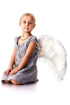 Free Beautiful Girl With Angel Wings Stock Images - 17254724