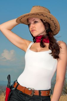 Girl In A Cowboy Hat Royalty Free Stock Photography