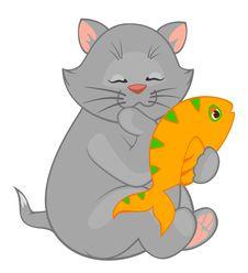 Free Cartoon Little Kitten With Fish Stock Photography - 17254912
