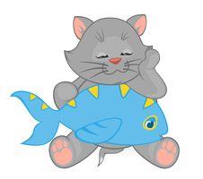 Cartoon Little Kitten With Fish Stock Photo