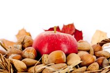 Free Nuts And Appel In A Basket Stock Photography - 17255712
