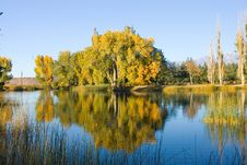 Fall Colors And Lake With Reflection Stock Photos