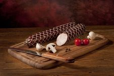 Sausage On The Table Stock Photo