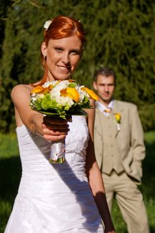 Free Young Bride With Flowers. Stock Image - 17256331