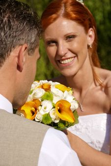 Free Young Bride With Flowers. Stock Image - 17256401