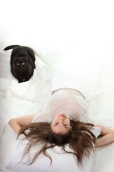 Free Woman With A Cat Stock Image - 17257461